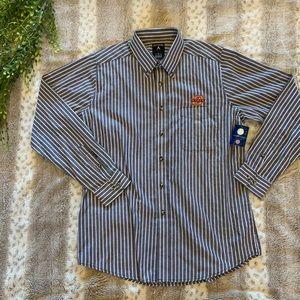 Antigua Oklahoma State Button Down Stripe Shirt